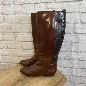 BALLY Vintage Brown Crocodile Leather Boots